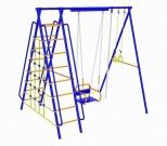 Игровой комплекс - Непоседа-Дачник № 5 с сеткой для лазания с кач. на цепях/подшипниках