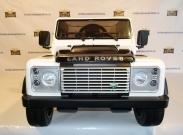 Детский электромобиль Land Rover Defender DMD-198 белая на резиновых колесах и с кожаным сиденьем