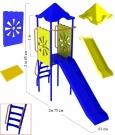 """Игровой комплекс - Горка """"Василек"""" (длина ската 2,0 метра, пластиковые широкие ступеньки)"""