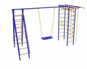 Игровой комплекс - Непоседа-Дачник № 7 с рукоходом и накл. лест. и сеткой