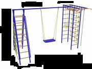 Игровой комплекс - Дачник № 9 с рукоходом, накл. лест. и двумя сетками, кач. на цеп./под.